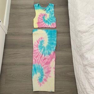 Fashion Nova Tie-dye Skirt & Crop Top SET